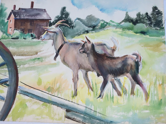 Goat Image, Watercolor Painting of Mother Goat and Kid,