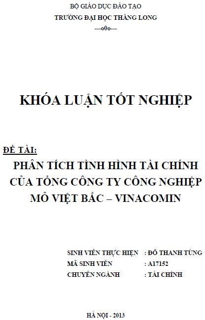 Phân tích tình hình tài chính Tổng Công ty Công Nghiệp Mỏ Việt Bắc – Vinacomin