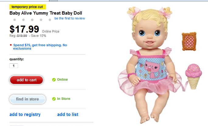 Baby Alive Yummy Treat Baby Doll 12 99 Target