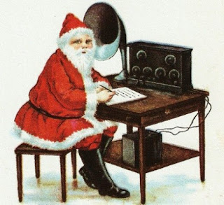 Drawing of Santa sitting in front of an old radio set