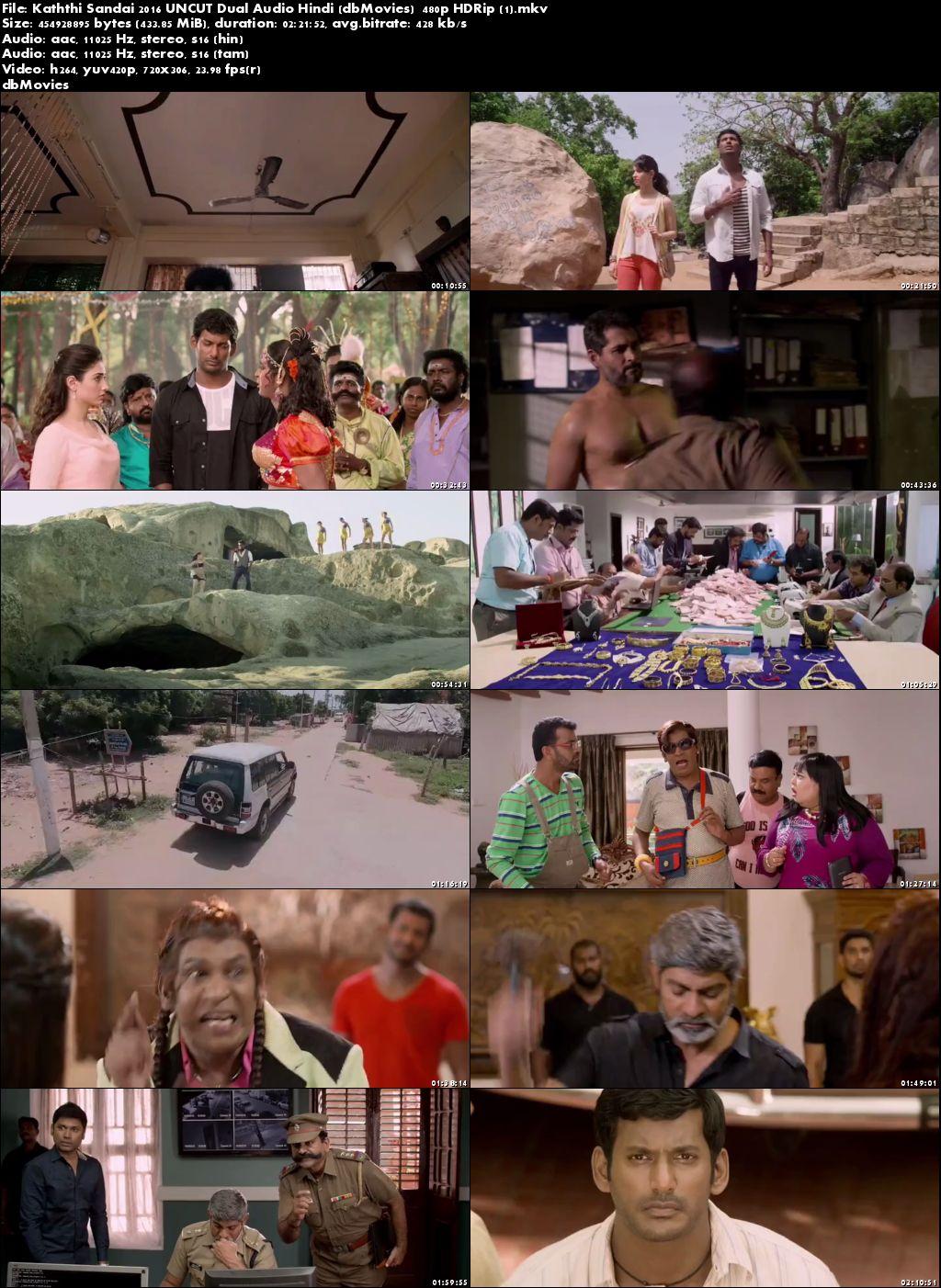 Poster Kaththi Sandai 2016 Full Movie Dual Audio Free Download 300Mb