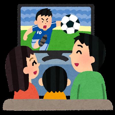 スポーツ観戦のイラスト「テレビでサッカー観戦」