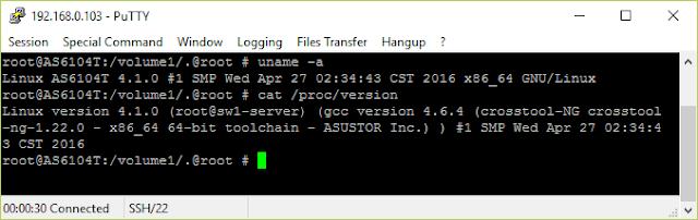 Informacje na temat wersji Linuxa w AS6104T