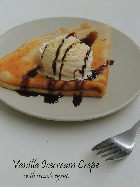 Vanilla Icecream crepe with treacle syrup