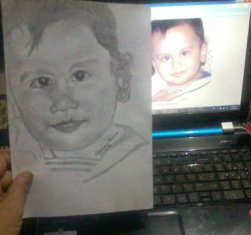 Pencil sketch of baby by akshay kumar