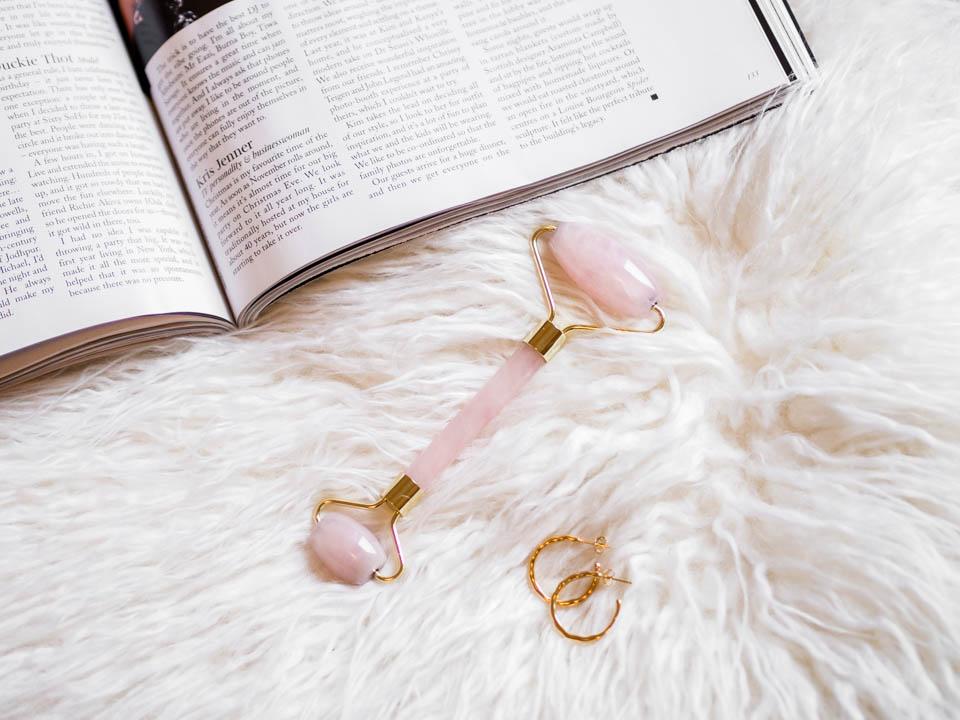 Pink rose jade roller - Vaaleanpunainen jaderulla