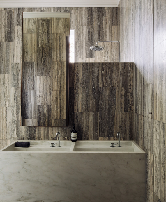 Travertine tiles and carrara marble sink bathroom | Fearon Hay Architecture