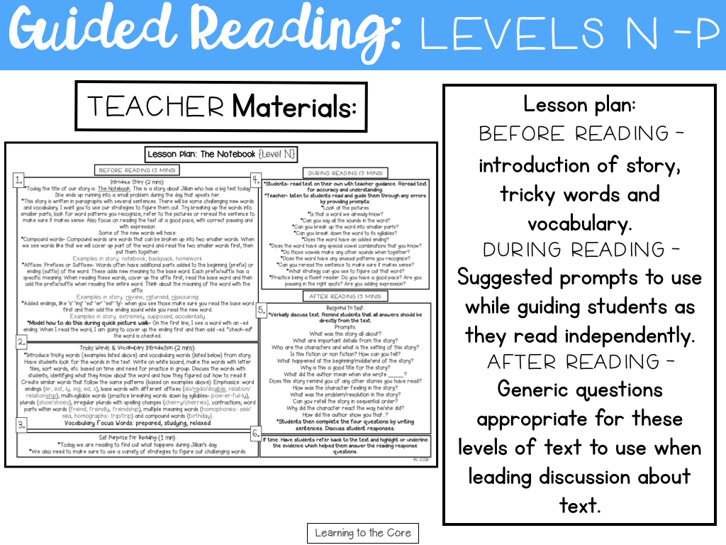 - Guided Reading Passages: Levels N-P - Learning To The Core
