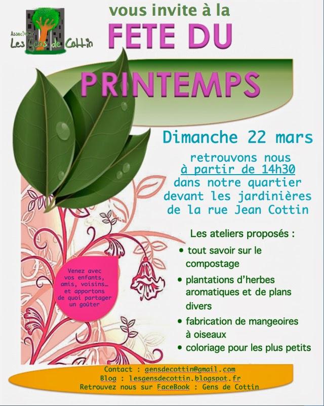 Coloriage Fete De Printemps.Les Gens De Cottin Venez Feter Le Printemps Le 22 Mars