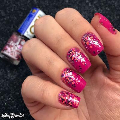 Esmalte Rosa com Glitter - @BlogEsmaltei