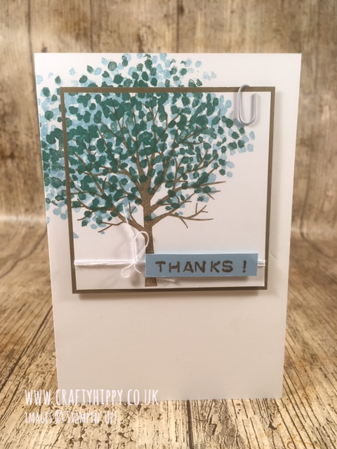 Handmade tree card using scraps and the Sheltering Tree stamp set by Stampin' Up!