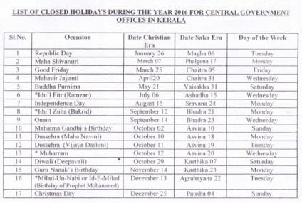 Holiday List 2016 For CG Offices In Kerala