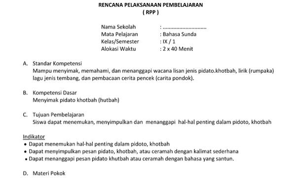 RPP  Prota Promes Silabus Bahasa Sunda Kelas 9 Kurikulum 2013