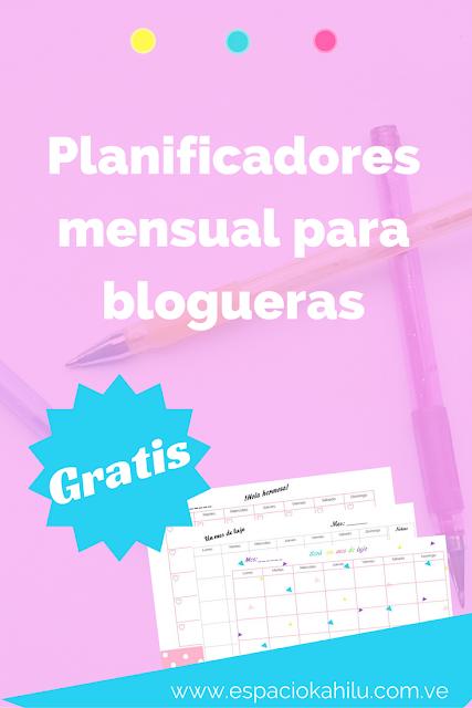 planificador mensual para blogueras gratis