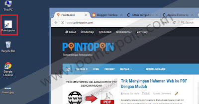 Shortcut website yang telah dibuat