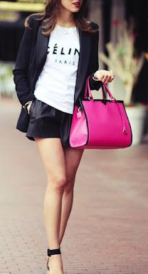 Uma peça de cor forte (pop of color) - mala rosa