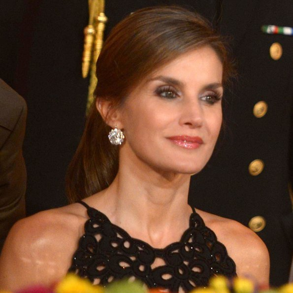 Queen Letizia attended gala dinner with Mexico's President Enrique Pena Nieto and his wife Angelica Rivera, Mexico