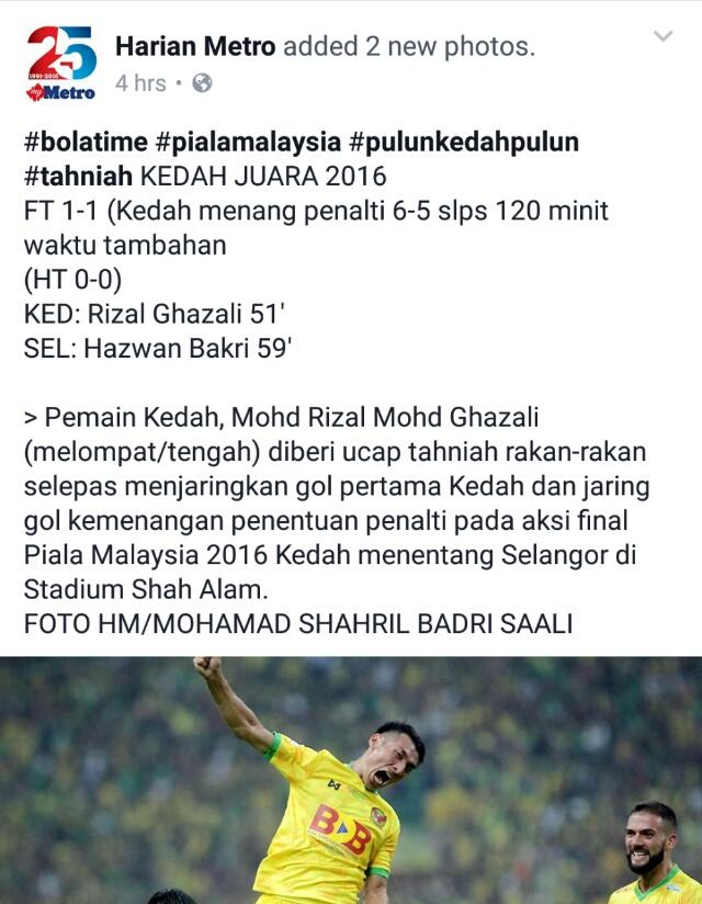 TAHNIAH KEDAH!!! JUARA PIALA MALAYSIA 2016!