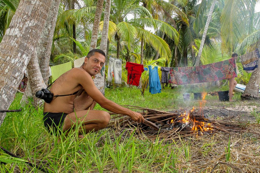 Paluch near the bonfire on the beach in San Blas Islands in the Caribbean