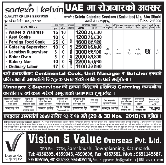 Jobs in UAE for Nepali, Salary Rs 92,100