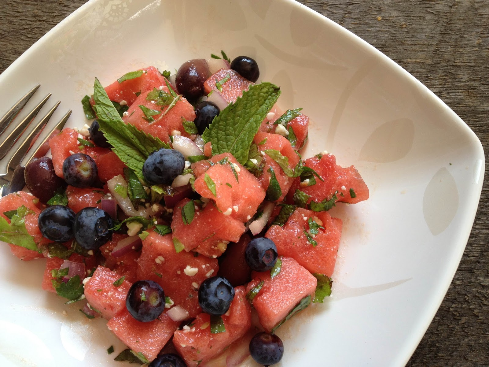 sprigs of rosemary watermelon and feta salad. Black Bedroom Furniture Sets. Home Design Ideas