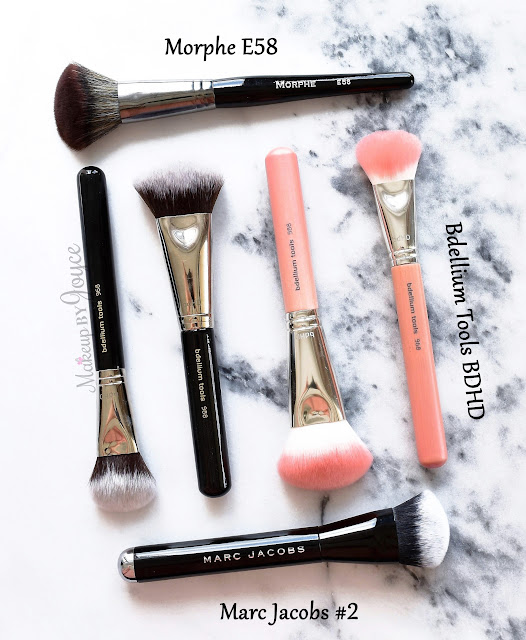 Marc Jacobs The Face II Sculpting Foundation Brush Review Dupe Morphe E58 Bdellium Tools BDHD
