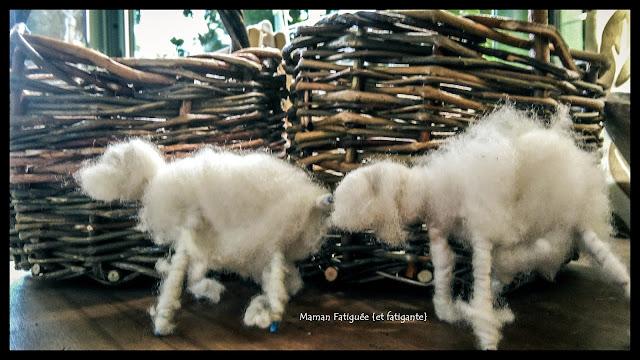 moutons laine cardée panier tressé