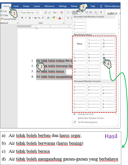 Mengubah Simbol Bullet, Numbering Style atau Multilevel List Pattern 2