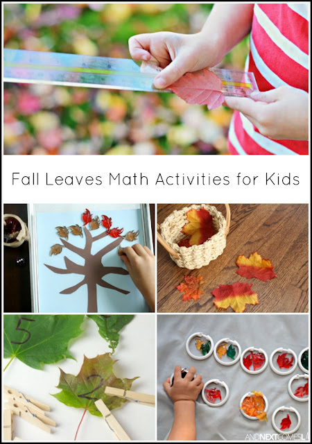 Fall leaves math activities for kids from And Next Comes L