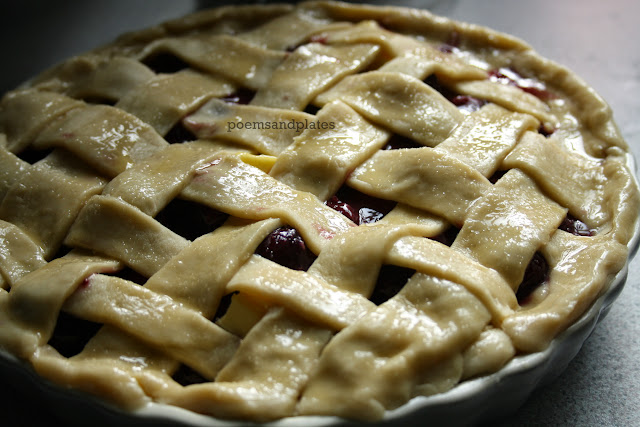 Lattice topped double cherry & vanille pie