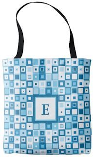 Funky blue squared tote bag