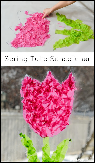 Easy Spring craft for kids - make a tulip suncatcher from And Next Comes L