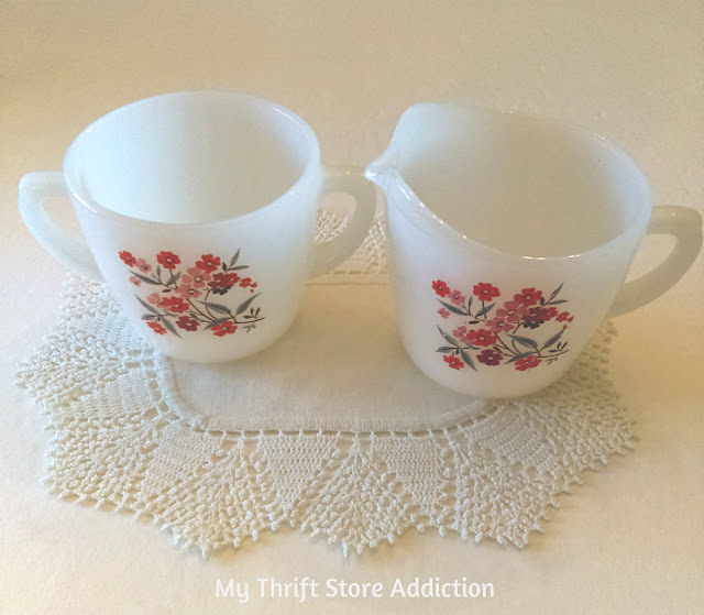 Vintage Fire King Primrose cream and sugar set