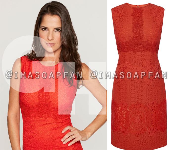 Sam Morgan, Kelly Monaco, Red Lace Dress, General Hospital, GH