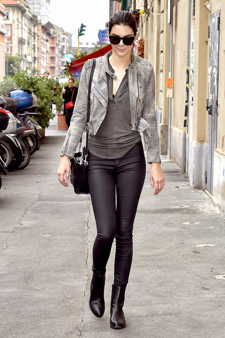 Celebrity Street Style Kendall Jenner Wearing Leather