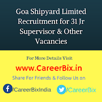 Goa Shipyard Limited Recruitment for 31 Jr Supervisor, Instructor, MLT, Nursing & Office Asst Vacancies
