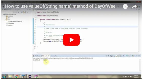 JAVA EE: How to use valueOf(String name) method of DayOfWeek Enum   Java 8 Date and Time