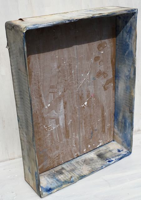 Distressed canned kitty food box for vintage print frame