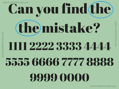 Answer of Find Mistake Puzzle