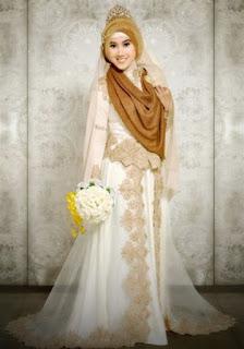 Baju pengantin muslimah modern warna coklat