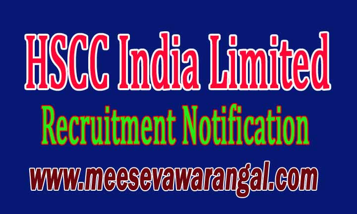 HSCC India Limited Recruitment Notification 2016