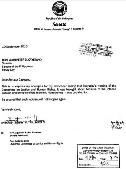 Trillanes letter to Cayetano