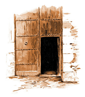 wooden door illustration vintage image