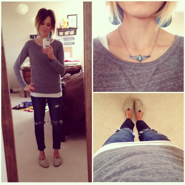 gray tee, destroyed denim, TOMS