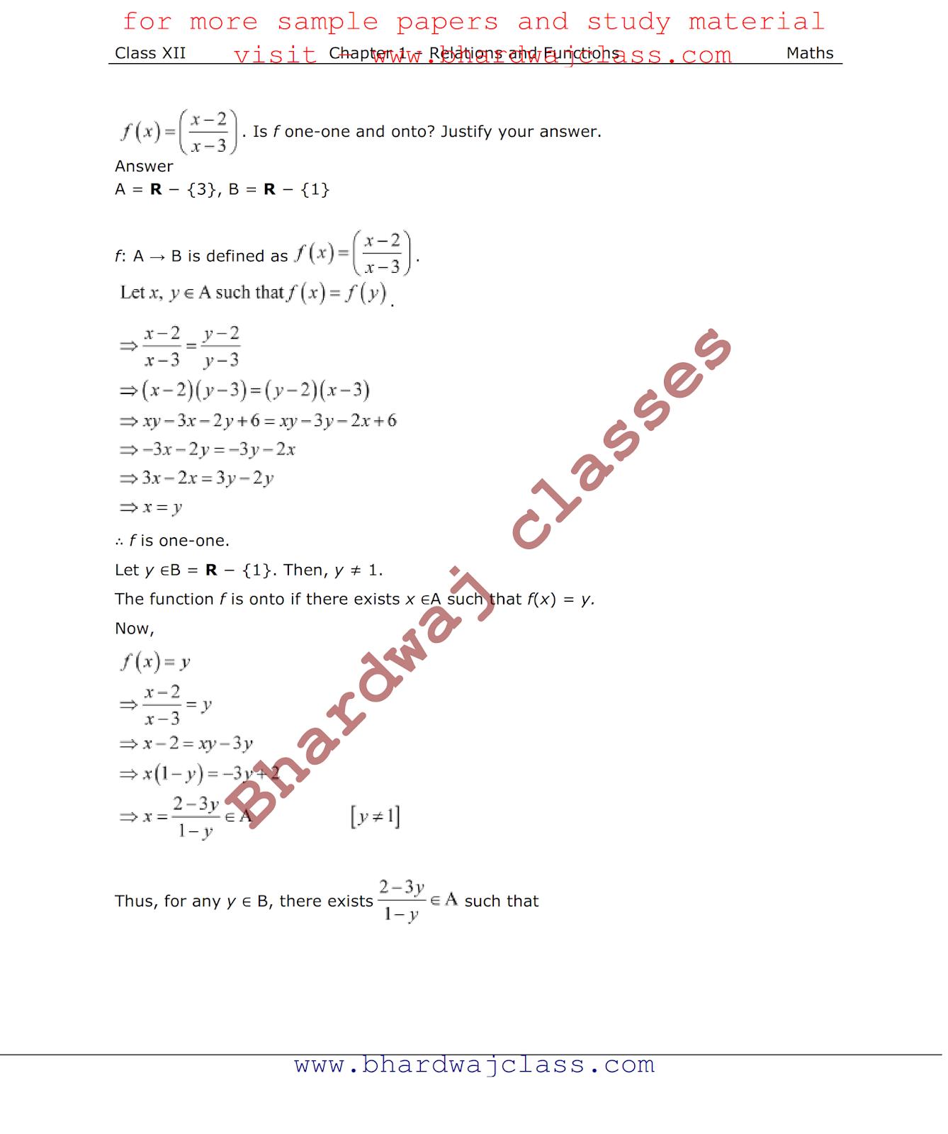 NCERT Solution class 12 maths chapter 1