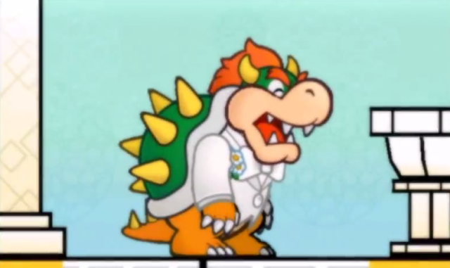 Super Paper Mario King Bowser Koopa wedding Peach white suit sprite