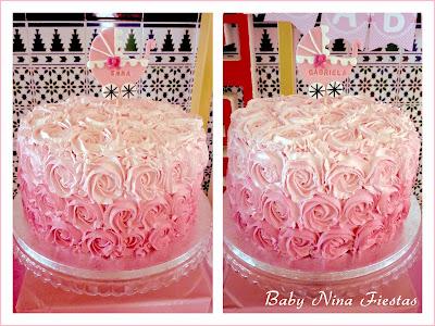 tarta rosas en degrade mellizas