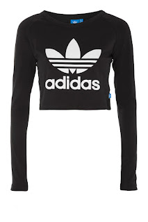 black adidas cropped top with long sleeves