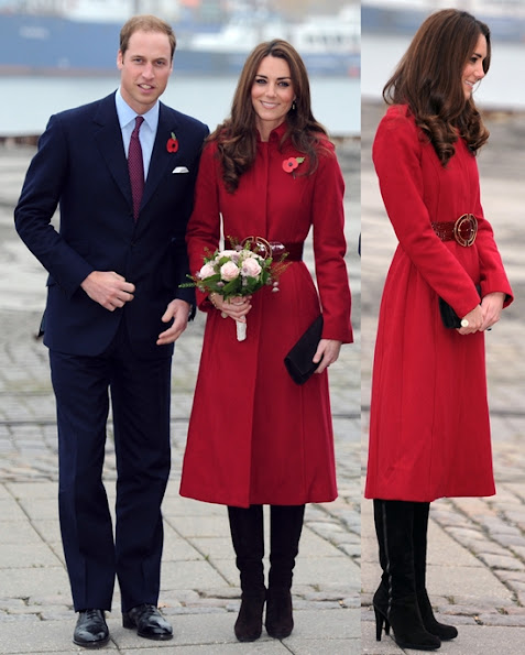 Kate Middleton wears a poppy-red LK Bennett coat. The Duke and Duchess of Cambridge were both already wearing their poppy pins
