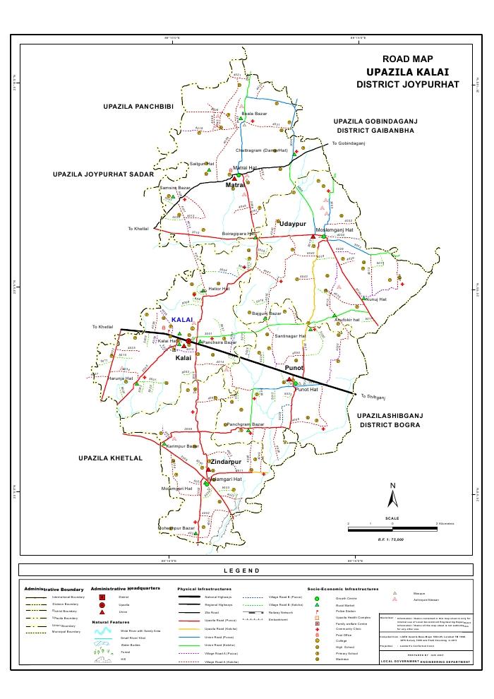 Kalai Upazila Road Map Joypurhat District Bangladesh
